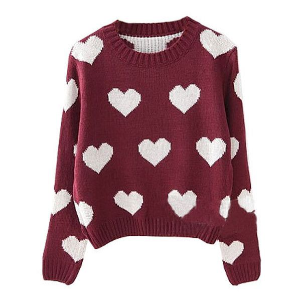 Preppy Loving Hearts Printed Knitwear ($29) ❤ liked on Polyvore featuring tops, sweaters, shirts, jumpers, preppy tops, long sleeve tops, preppy sweaters, long sleeve jumper and purple shirt