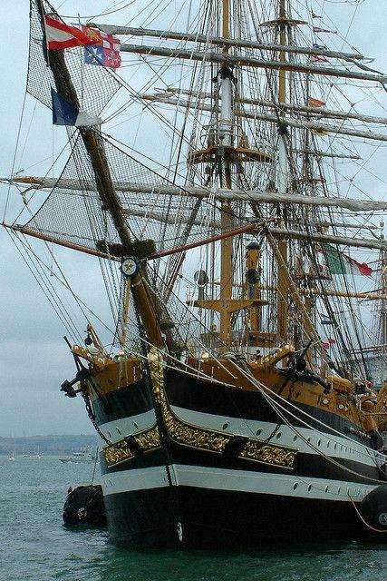 The 'tall ship' Amerigo Vespucci, seen at the International Festival of the Sea 2005, Portsmouth Historic Dockyard, England.