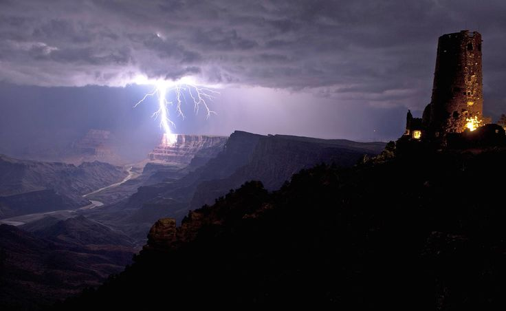 Lightning against the wall of the Grand Canyon. Caters News Agency