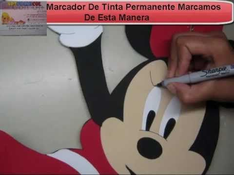 COMO HACER MINNIE MOUSE DE DISNEY EN FOAMY O GOMAEVA CON MOLDES O PATRONES - YouTube
