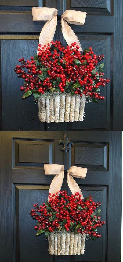 Holiday Wreath Christmas Wreaths For Front Door Wreaths Rustic Red Winter  Berry Berries Wreaths Front Door