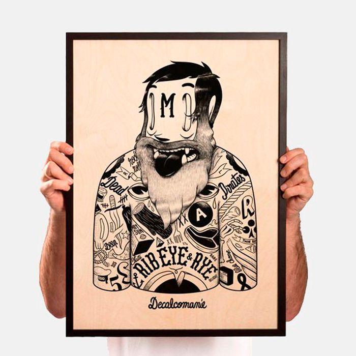 Russian Boxer de McBess - Impresión Gicleé sobre madera de abedul  http://followtheforest.com/ilustraciones/2-russian-boxer-by-mcbess.html