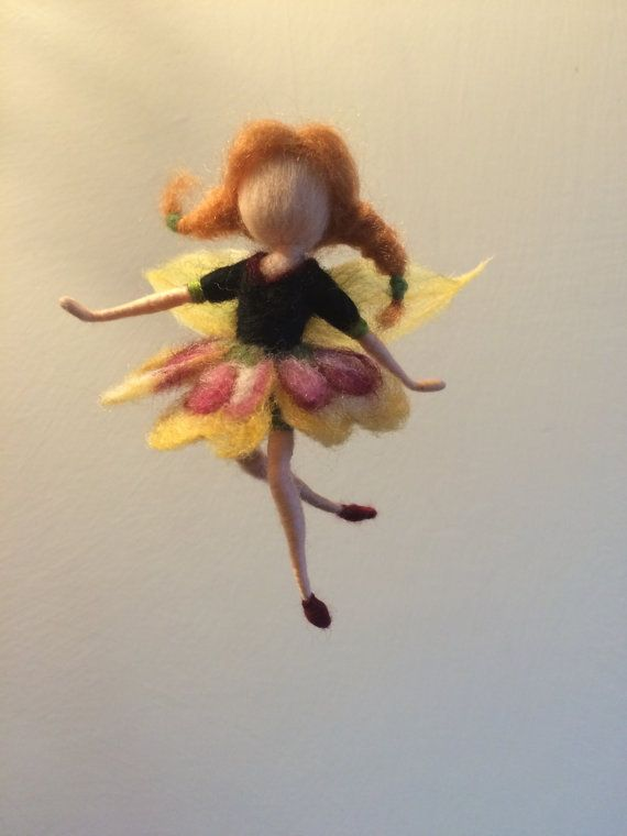 """Needle felted fairy Waldorf inspired Dancing Flower Fairy """"Pansy """" Elf Ballerina Mobile Gift Art doll Doll miniature"""