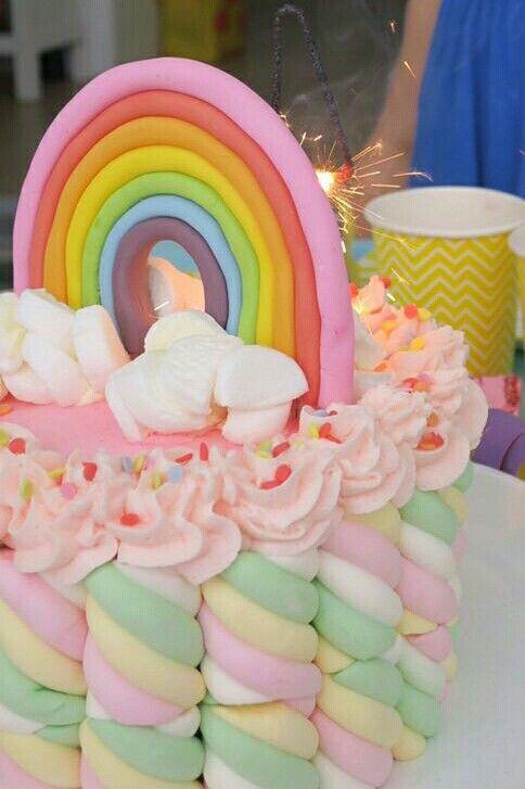 Mathilda's rainbow piñata cake - detail