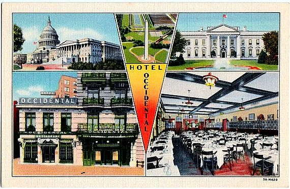 Vintage Washington DC Postcard -- The Occidental Hotel and DC Landmarks ~~~ The VintagePlum Shop on Etsy ~~~ #vintage #washingtondc #postcard #occidentalhotel #occidentalrestaurant #whitehouse  #uscapitolbuilding #washingtonmonument #washington #districtofcolumbia #dc #1930s #advertising #vintagepostcard