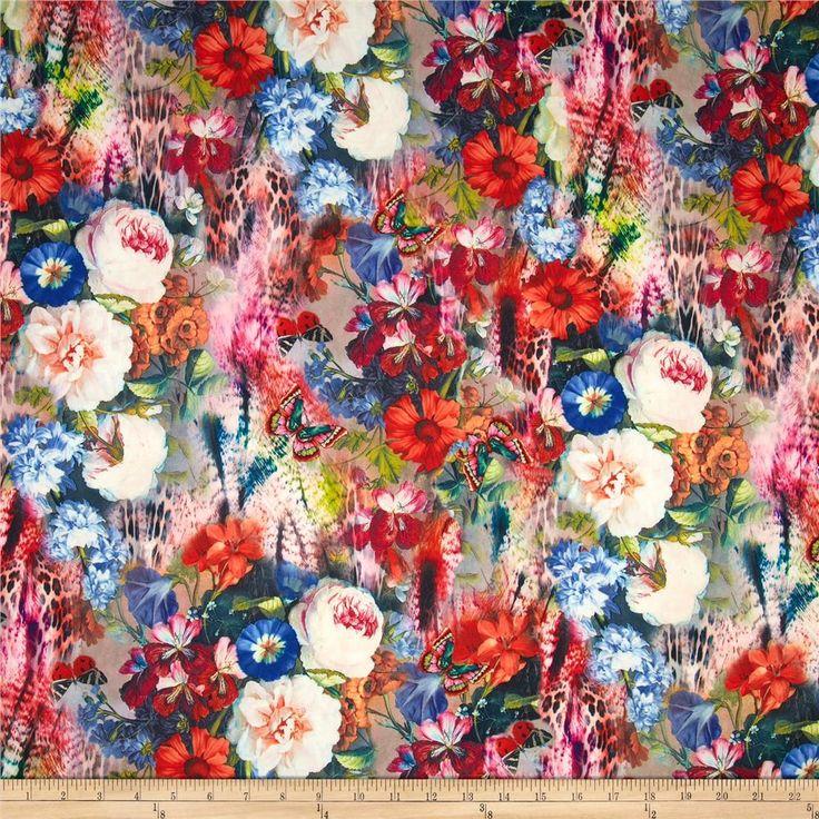 Telio Marni Scuba Knit Floral Print Cream/Magenta/Orange/Black from @fabricdotcom  Scuba knit is a lofty…