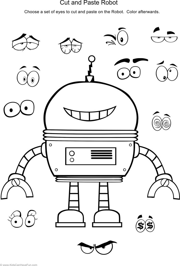 Cut and Paste Robot Worksheet http//www.kidscanhavefun