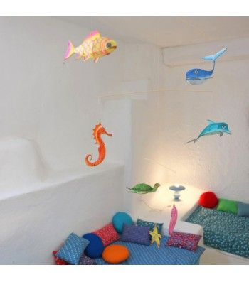 mobile petit pan en bambou et soie peinte la main chambre enfants pinterest soie peinte. Black Bedroom Furniture Sets. Home Design Ideas