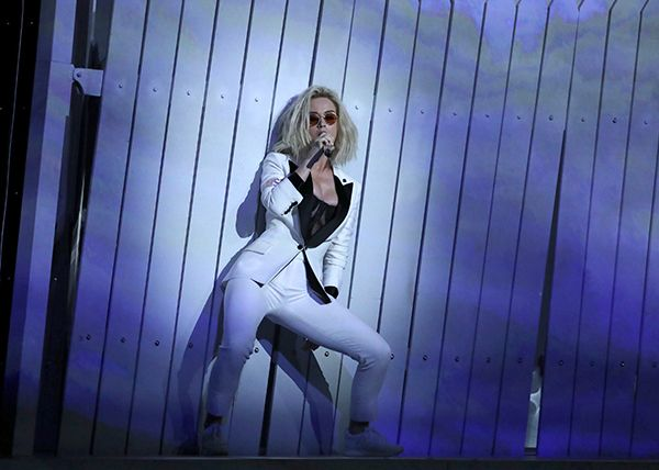 """Katy Perry performs """"Chained to the Rhythm"""" at the 59th annual Grammy Awards"""