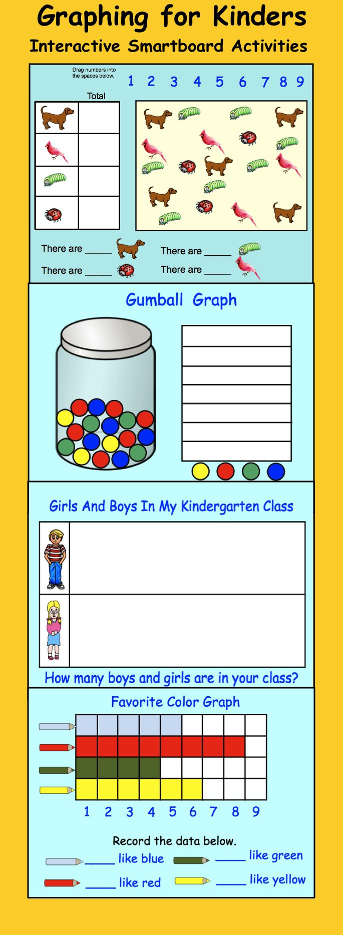 Interactive Smartboard Activity, Graphing for K-1 Kids love this one! (10 different graphs) $