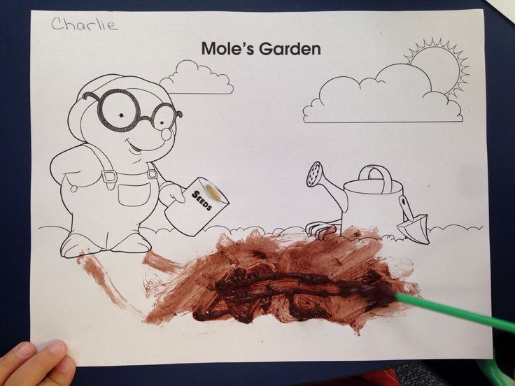 Mole's Garden using brown paint mixed with potting soil. Grass seed was also glued onto the seed packet.
