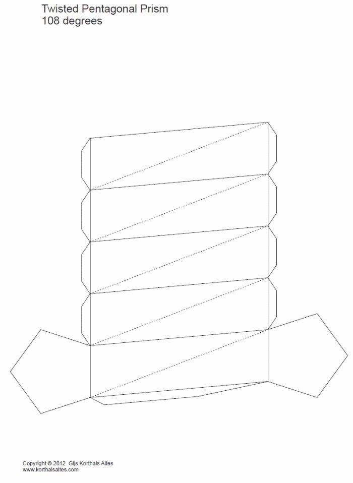 desarrollo plano de unprisma pentagonal torcido