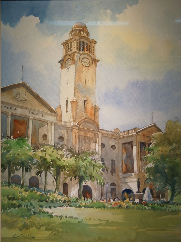 Victoria Concert Hall by Khor Ean Ghee, Watercolour on Paper.