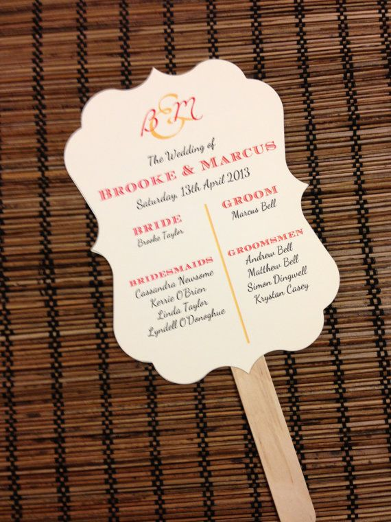 Paddle Fan Wedding Program Deposit Monogram By Alisamariedesigns