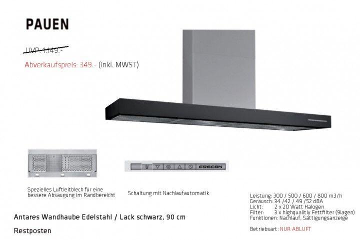 Wandhaube 90 cm, Restposten, Edelstahl Schwarz, Pauen