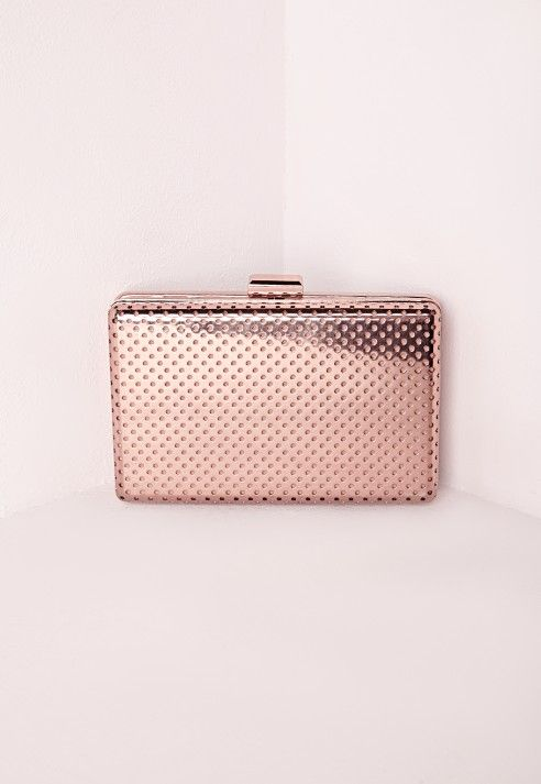 Perforated Metal Clutch Bag Rose Gold Accessories Bags Purses Missguided