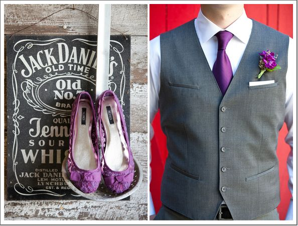 purple shoes and purple boutonniere with tie