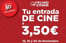 Entradas al cine por sólo 3,50 euros en Yelmo cines Si el jueves destacamos la promoción de Cinesa para conseguir entradas al cine por 5 euros, hoy destacamos la promoción de Yelmo cines, en la cual conseguirás las entradas por tan sólo 3,50 euros. http://www.sorteosyregalosgratis.com/entradas-al-cine-por-solo-350-euros-en-yelmo-cines