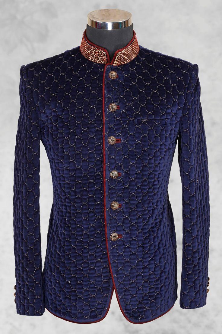 Royal #blue stylish #velvet suit with bandhgala collar-ST489