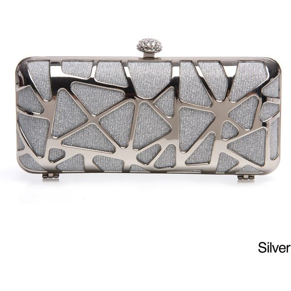 J. Furmani Women's Cut-out Hardcase Shiny Clutch ($44) ❤ liked on Polyvore featuring bags, handbags, clutches, silver, white purse, chain handle handbags, hard clutch, box clutch and white box clutch