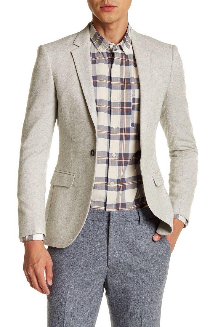 Grey Hanlin One Button Notch Lapel Extra Trim Suit Separates Jacket