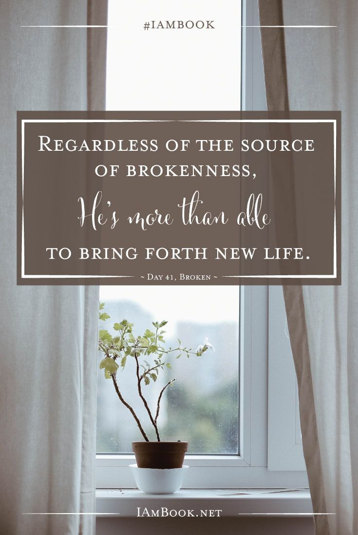 Regardless of the source of brokenness, He's more than able to bring forth new life. #iambook