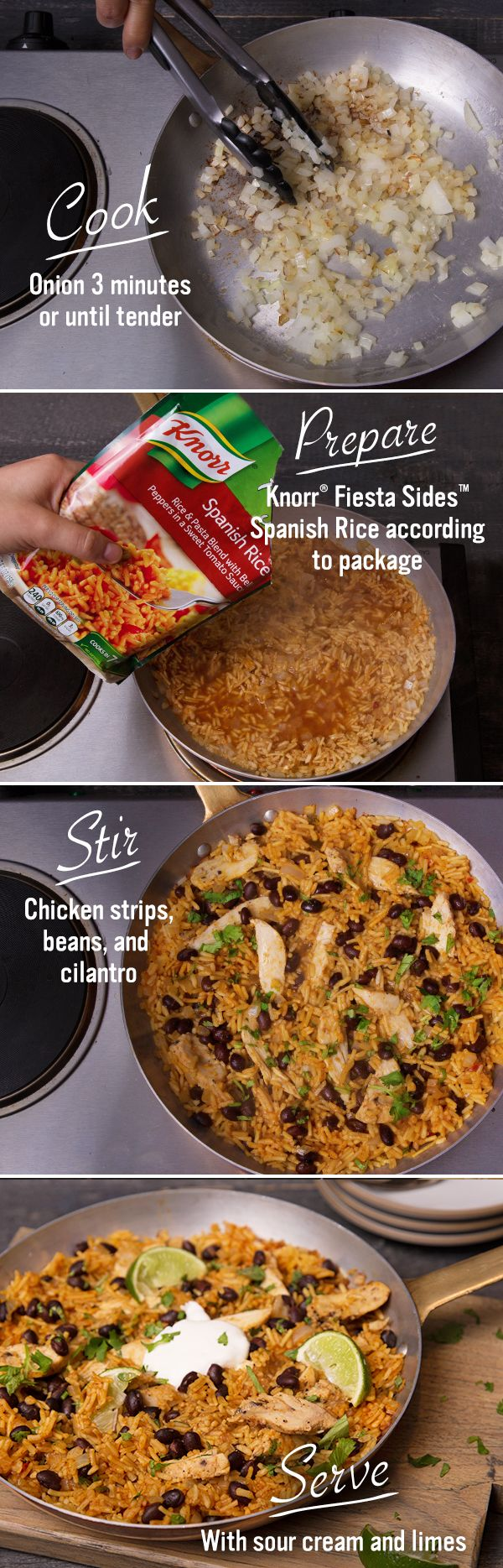 The game may be close, but the MVP (Most Valuable Potluck) dish is obvious. This Skillet Chicken Chili is a guaranteed touchdown: 1. Melt margarine and cook onions. 2. Combine water and Knorr Fiesta Sides - Spanish Rice. 3. Stir in chicken and beans.
