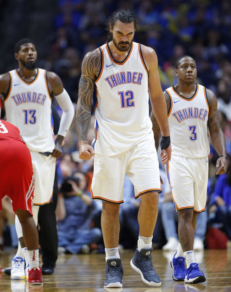 Oklahoma City's Steven Adams walks of the court after getting pulled down by Houston's James Harden during a preseason NBA basketball game between the Oklahoma City Thunder and the Houston Rockets at the BOK Center in Tulsa, Tuesday, Oct. 3, 2017. Adams left the game after the play. Photo by Bryan Terry, The Oklahoman
