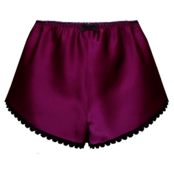 Ana Plum Silk High Wasited Shorts ($65) ❤ liked on Polyvore featuring shorts, lace trim shorts, ayten gasson and silk shorts