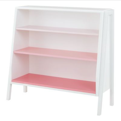 Like the graduated shelves & color idea - Land of Nod - Graduated Wide Bookcase (Pink Shelves)