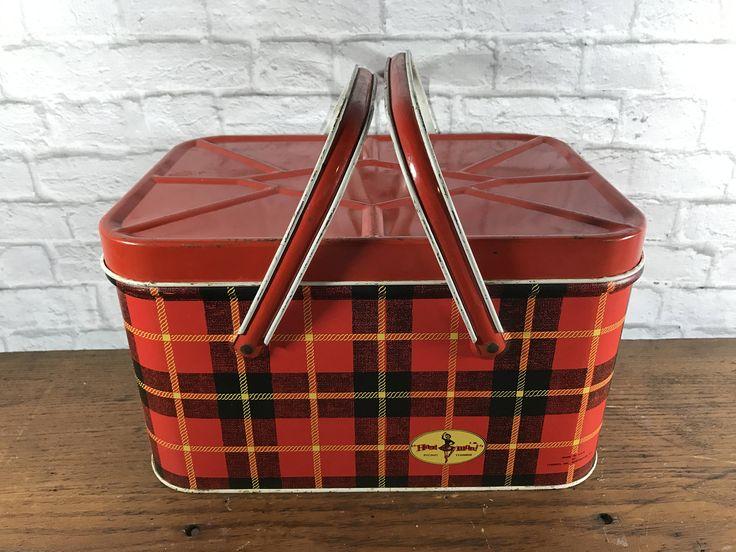 Hoot-Mon Red & Yellow Tartan Plaid Metal Picnic Basket - Industrial Metal Box - Vintage Metal Box - Storage Basket - Retro - Made in USA by GratefulBlessingsVtg on Etsy