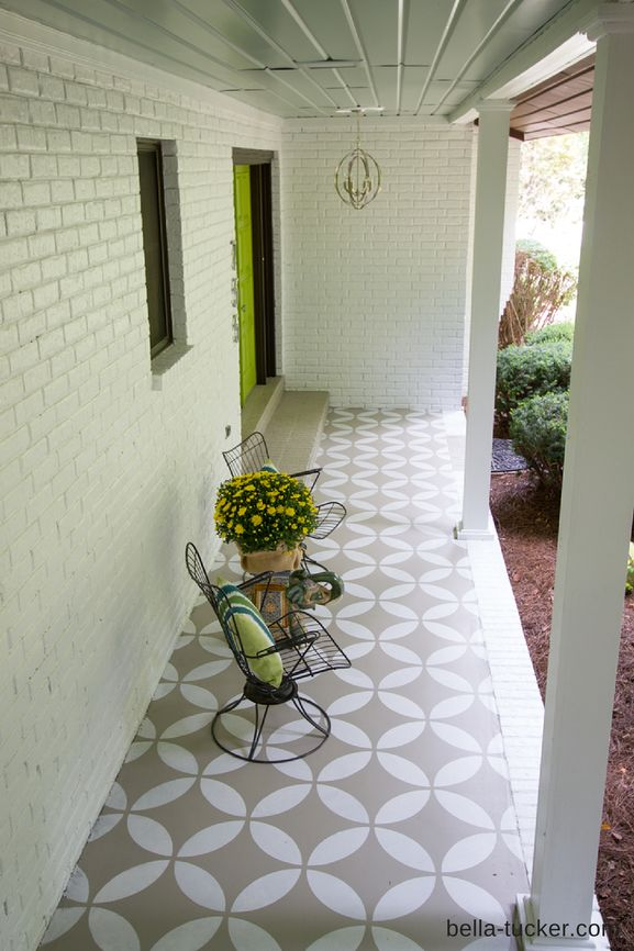 stenciled porch by Bella Tucker Decorative Finishes: We had this amazing stencil from Royal Design Studios blown up to an 18″ repeat. He painted the floor with Sherwin Williams porch and floor paint. The base color is 7045 Intellectual Gray and the stencil color is 7028 Incredible White.