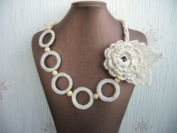 Hand Crochet Natural Linen  Necklace Flower and by CraftsbySigita on Etsy