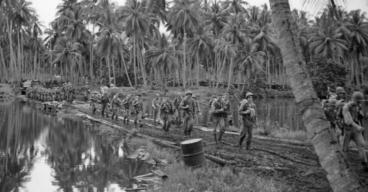 Troops on the move at Guadalcanal
