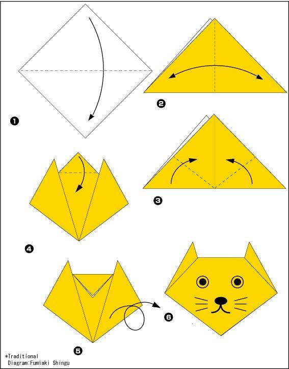 Оригами схемы котенок