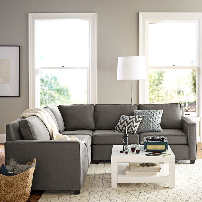 Henry L Shaped Sectional In Dove Gray Dark Couch With Light Walls