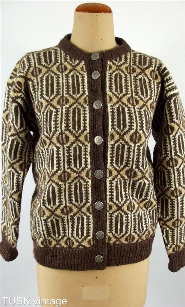 Vintage Norwegian 100 Virgin Wool Knit Brown Cream Pattern Cardigan. Husfliden 258