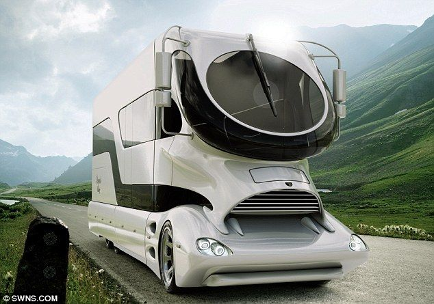 worlds most expensive motor home up for sale.. a cool Mil or more.  Also saw this style designed for transport vehicles.. aerodynamically superior.