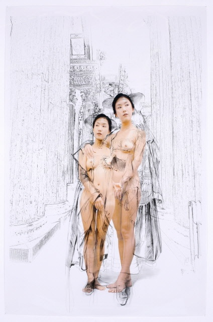The Costume of Painter - Ingres 081016  2008  oil on vinyl, vinyl on photograph  232 x 154cm