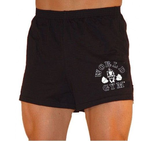 World Gym shorts with the gorilla logo. The same 601 blank is used by Powerhouse and Golds for their mens workout shorts.  https://www.bestforminc.com/products/Gym-Shorts/world-gym-shorts-workout-clothes
