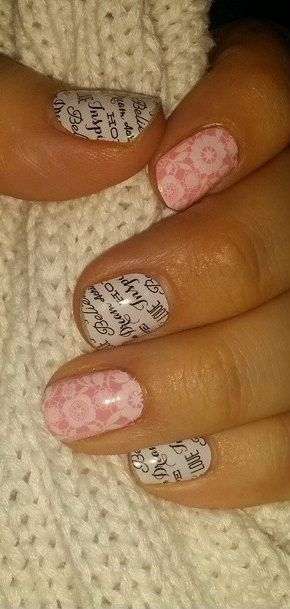 Word To The Wise and Chantilly over Pink Lemonade lacquer  NYC Nail Salons www.jeffreysteinsalons.com