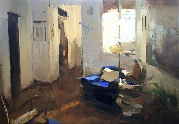 Interior #127. Oil on wood,  45 x 65 cm. Private collection.