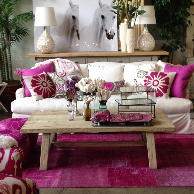 Lillian August Cozy Hot Pink Living Room, Right Up My Alley