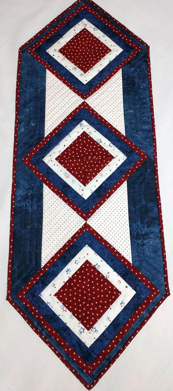 Patriotic Tablerunner Medium Quilted Table Decor Red White