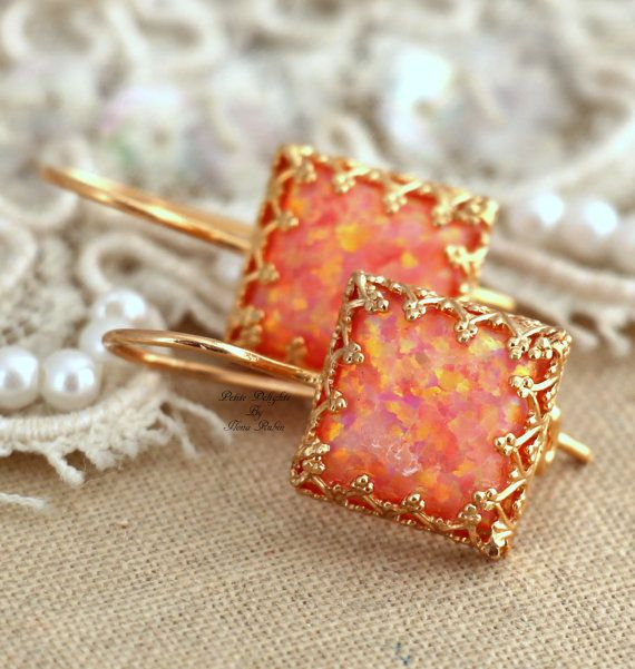 Orange peach Opal lever back  earrings Green by iloniti on Etsy, $46.00