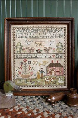 Heartstring Samplery Never Let You Go - Cross Stitch Pattern. Perfect love casteth out fear - I wish I was a little seed, I'd grow & grow & grow, I'd twine myse