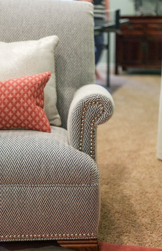 Herringbone Tweed Fabric On Sofa Couch Fabrics