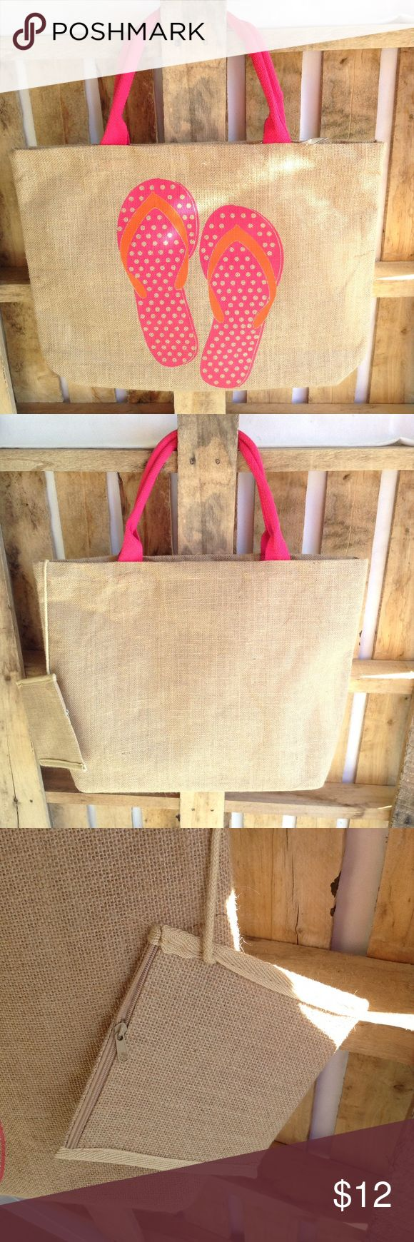 "Jute beach tote 👙☀️ Summer's coming!! 👏🏻☀️🏊🏻 Tote has inside and attached zippered pockets. The attached pocket is 6 x 6. Tote is 16"" tall, 21"" wide and 4.5"" wide bottom, and no worries with wet items! tote and pockets have plastic coating! 👍🏻 Bags Totes"