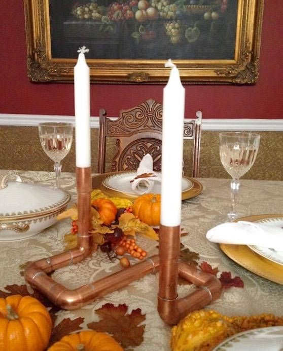 Copper Centerpiece Industrial Candle Holder Copper Pipe