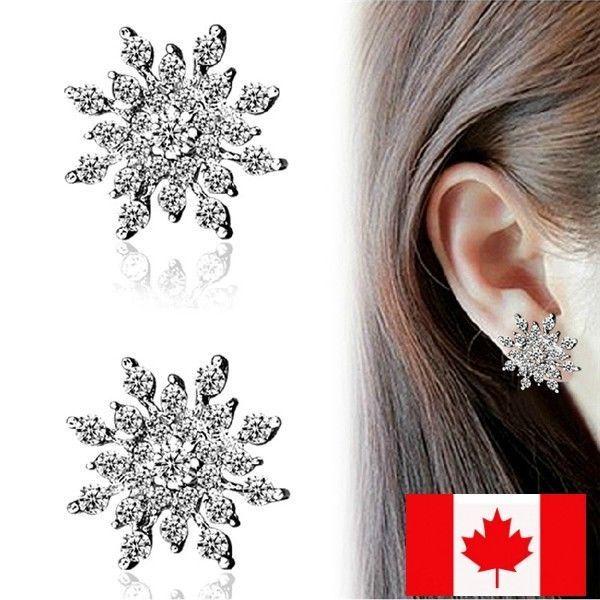 NEW Women Fashion Lady Elegant Snowflake Crystal Rhinestone Ear Stud Earrings #Handmade #Stud